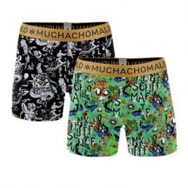 Muchachomalo jongens boxershorts 2-pack zwart groen